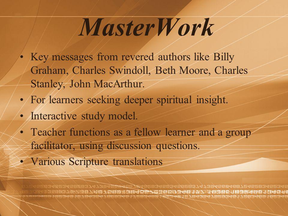 MasterWork Key messages from revered authors like Billy Graham, Charles Swindoll, Beth Moore, Charles Stanley, John MacArthur.