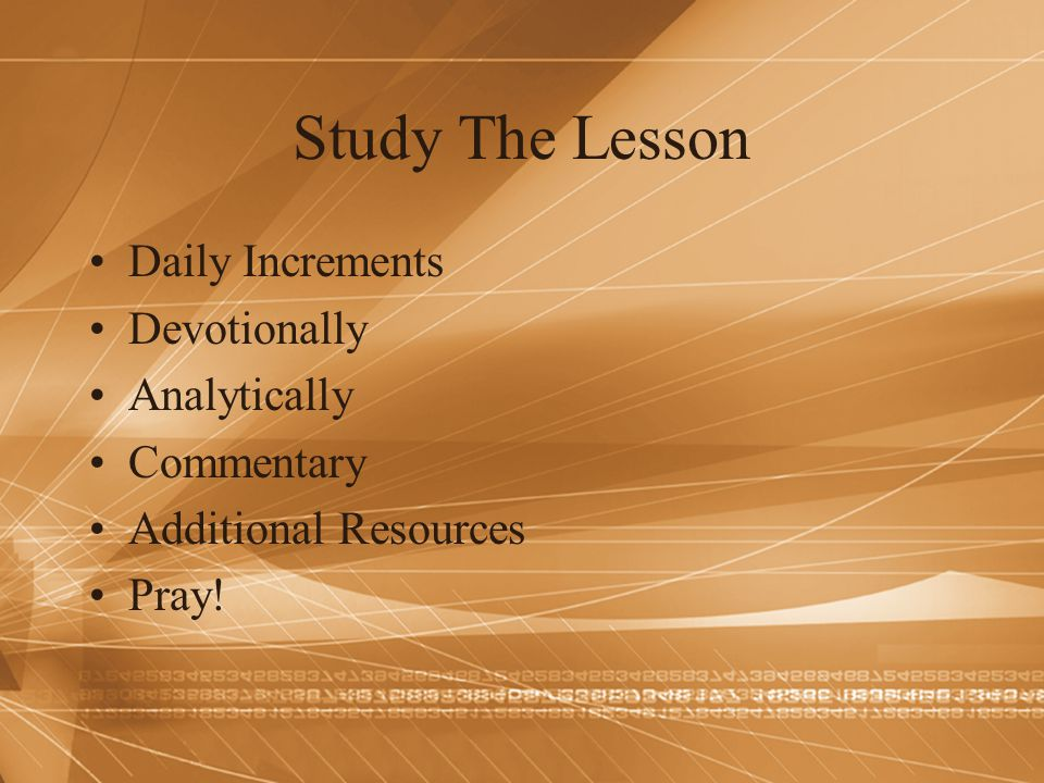 Study The Lesson Daily Increments Devotionally Analytically Commentary