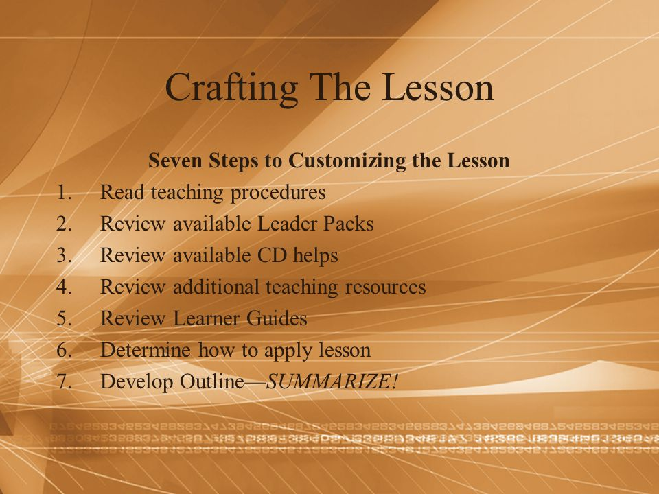 Seven Steps to Customizing the Lesson