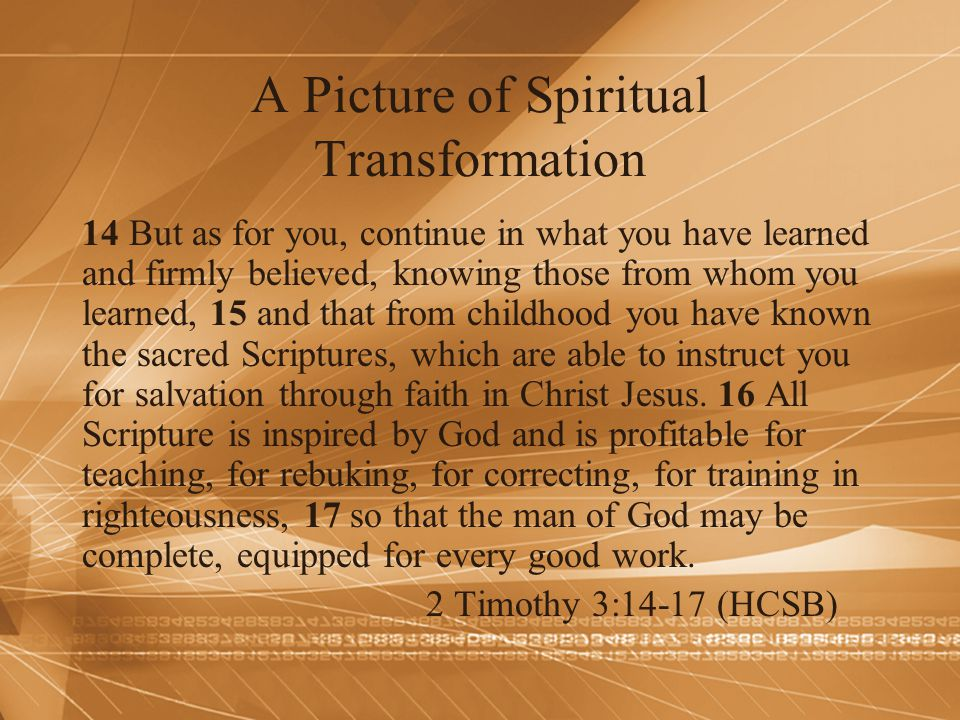 A Picture of Spiritual Transformation