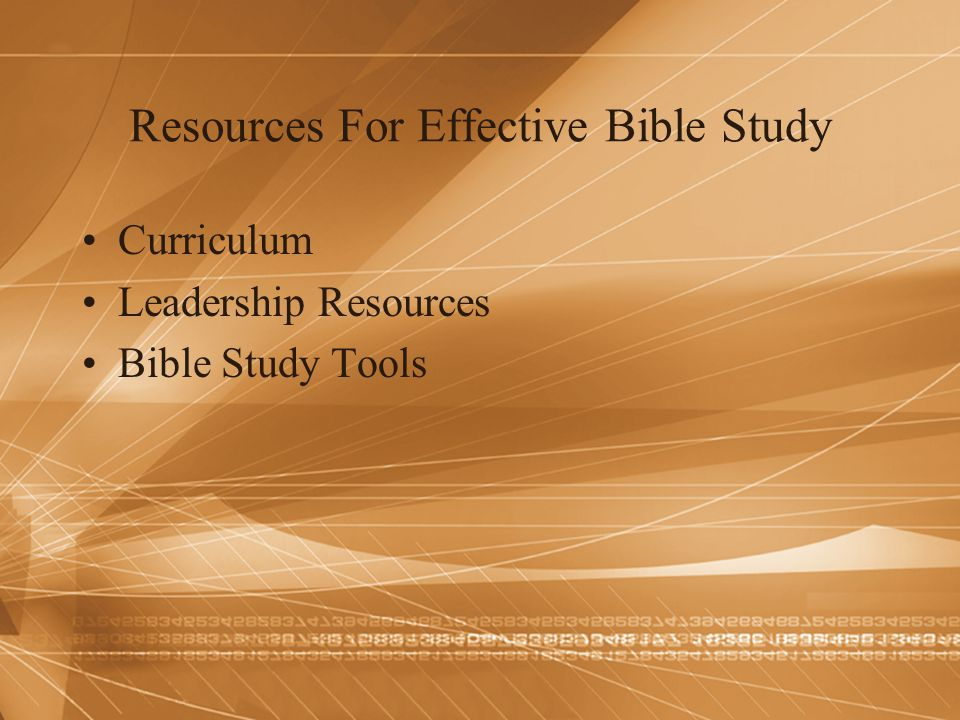 Resources For Effective Bible Study