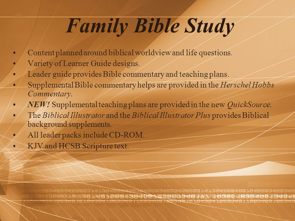 Family Bible Study Content planned around biblical worldview and life questions. Variety of Learner Guide designs.
