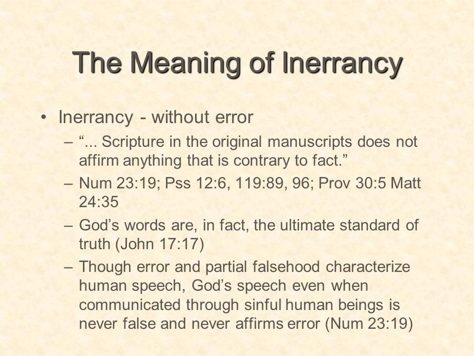 The Meaning of Inerrancy
