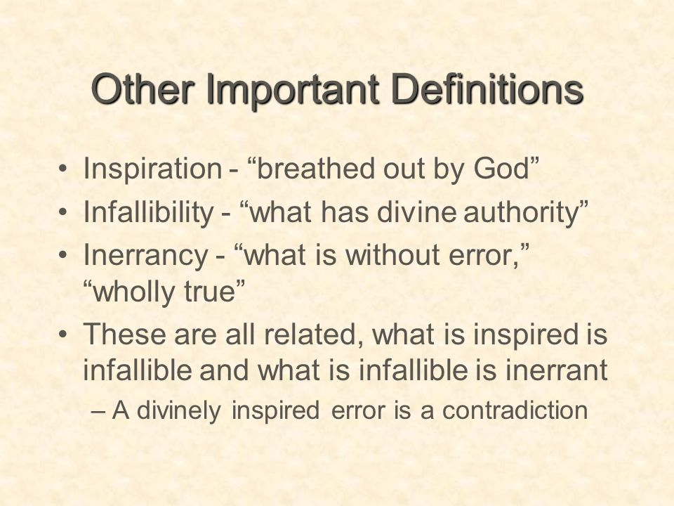 Other Important Definitions