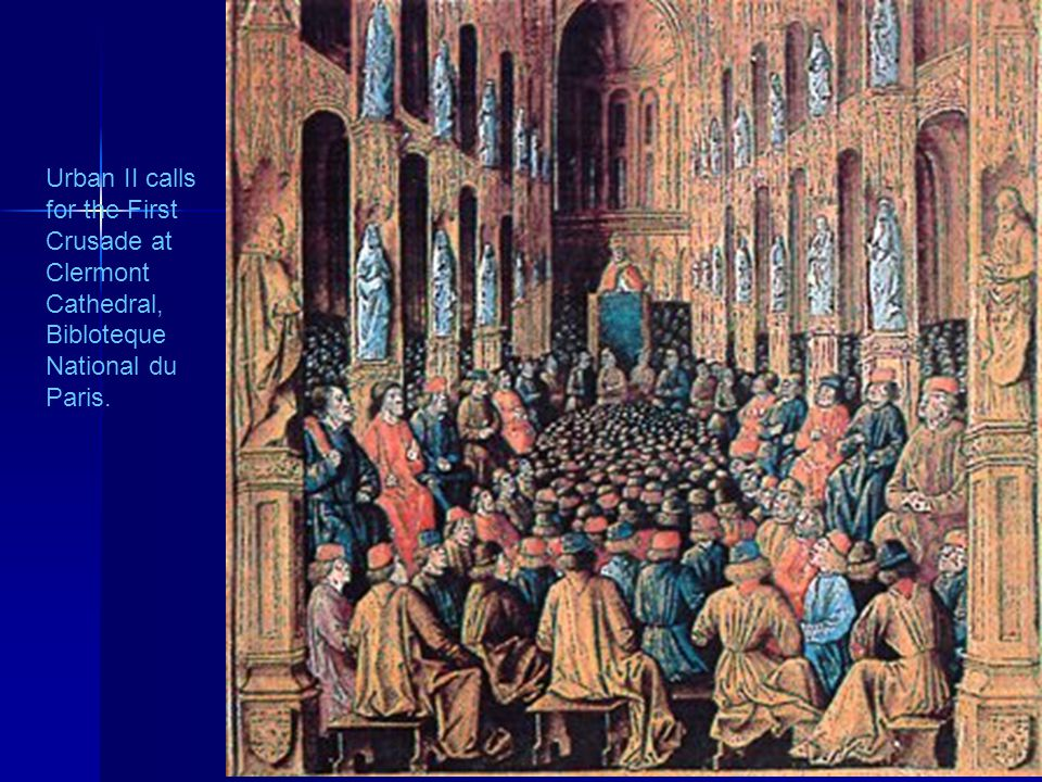 Urban II calls for the First Crusade at Clermont Cathedral, Bibloteque