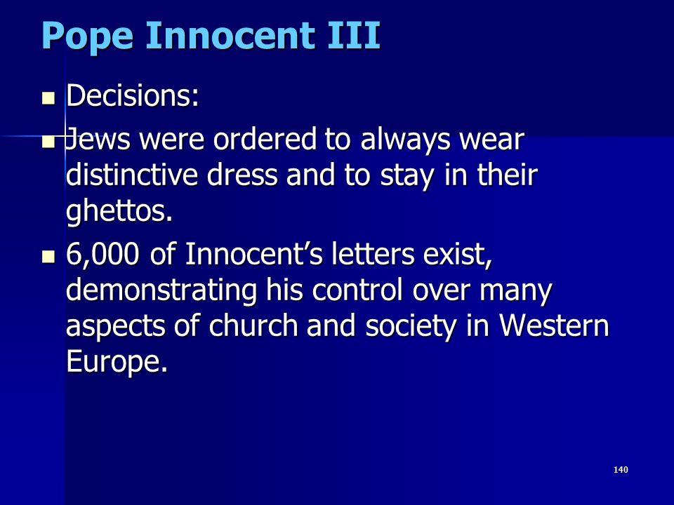 Pope Innocent III Decisions:
