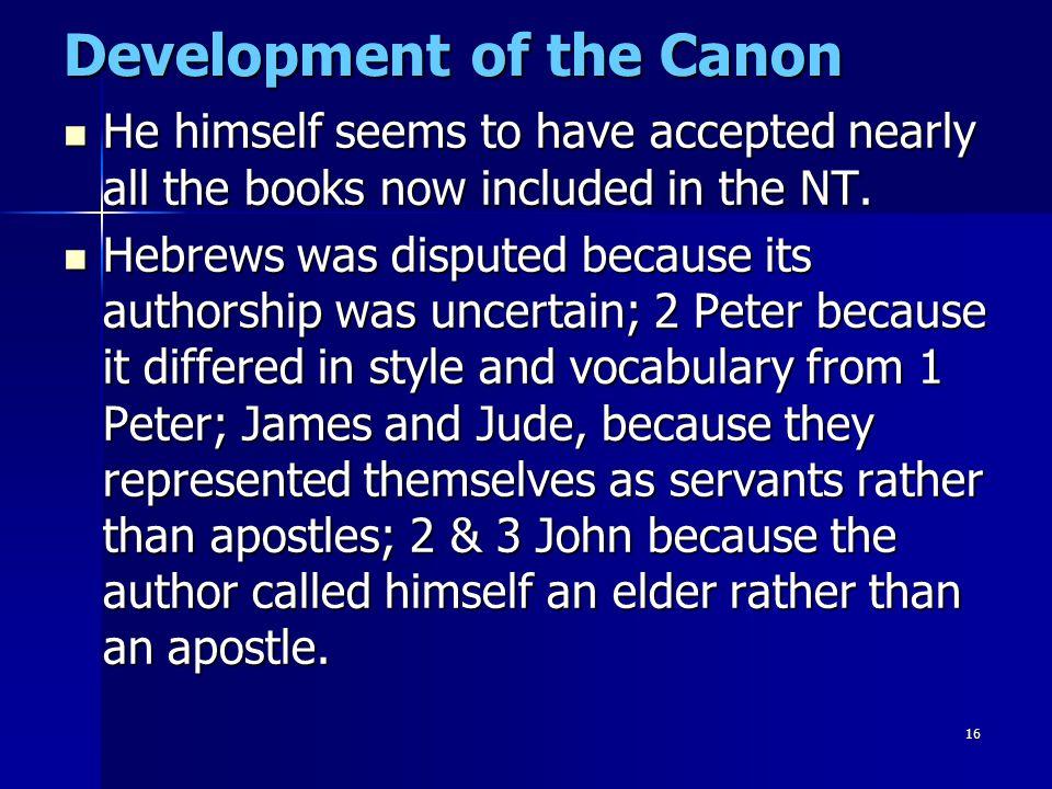 Development of the Canon