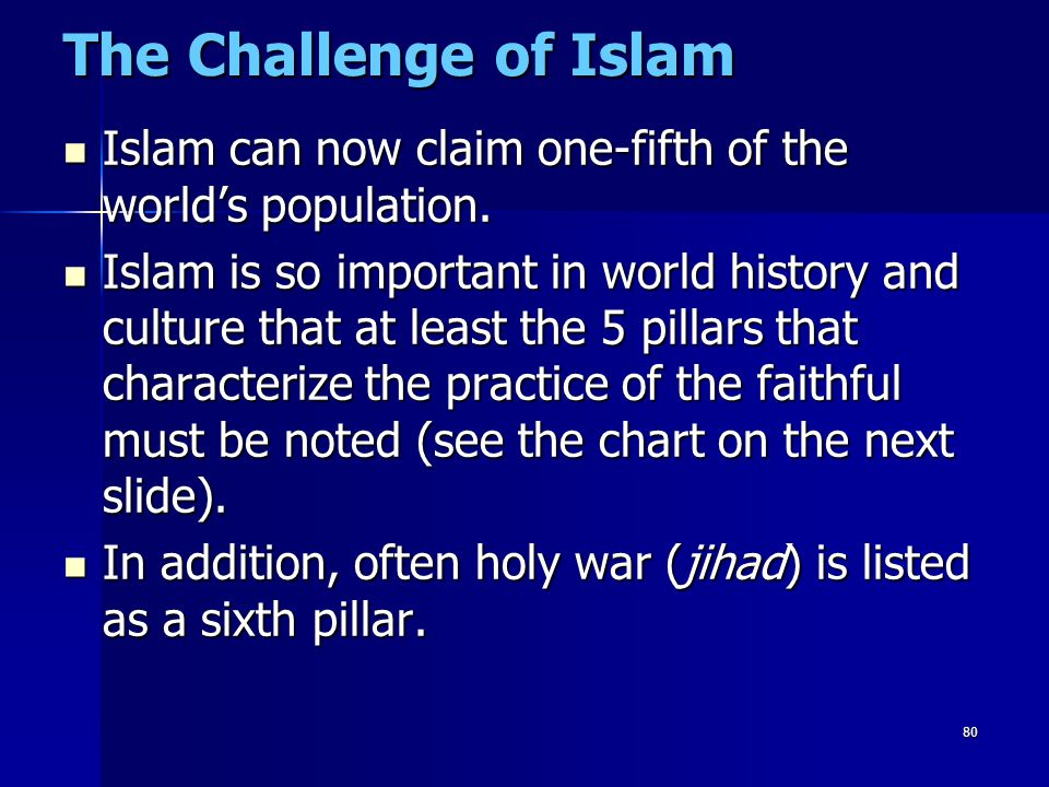 The Challenge of Islam Islam can now claim one-fifth of the world's population.