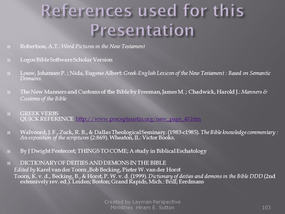 References used for this Presentation