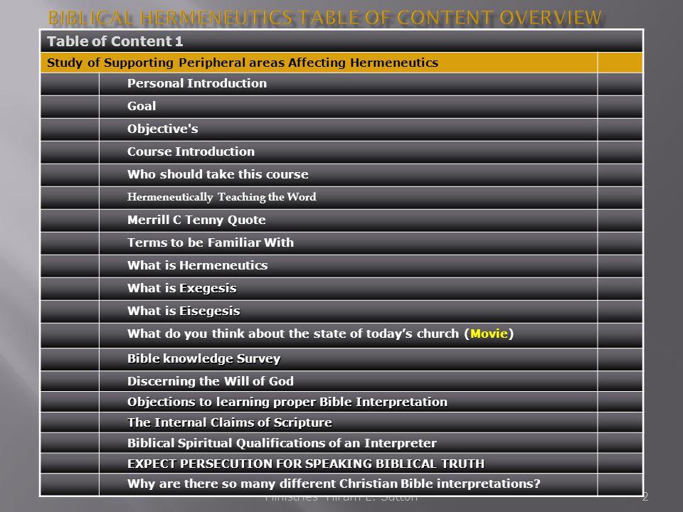 Biblical Hermeneutics Table of Content Overview