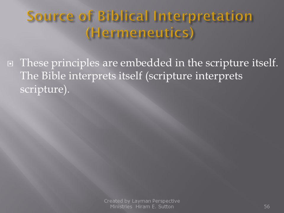 Source of Biblical Interpretation (Hermeneutics)