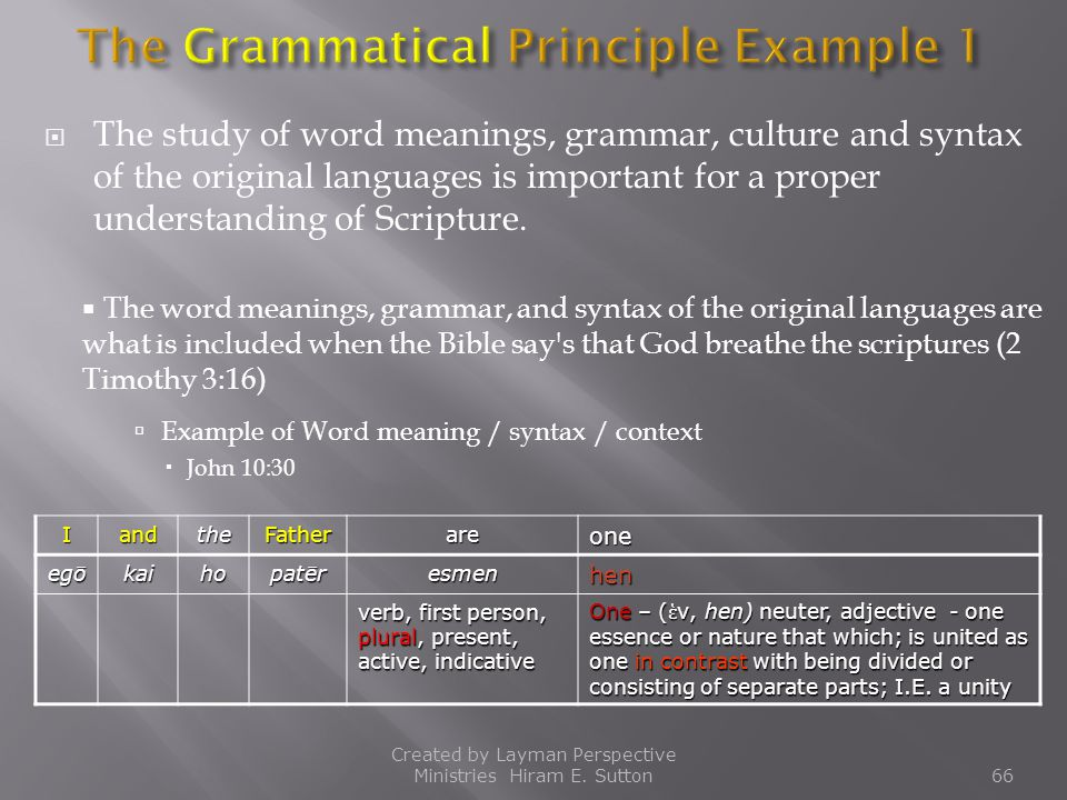 The Grammatical Principle Example 1