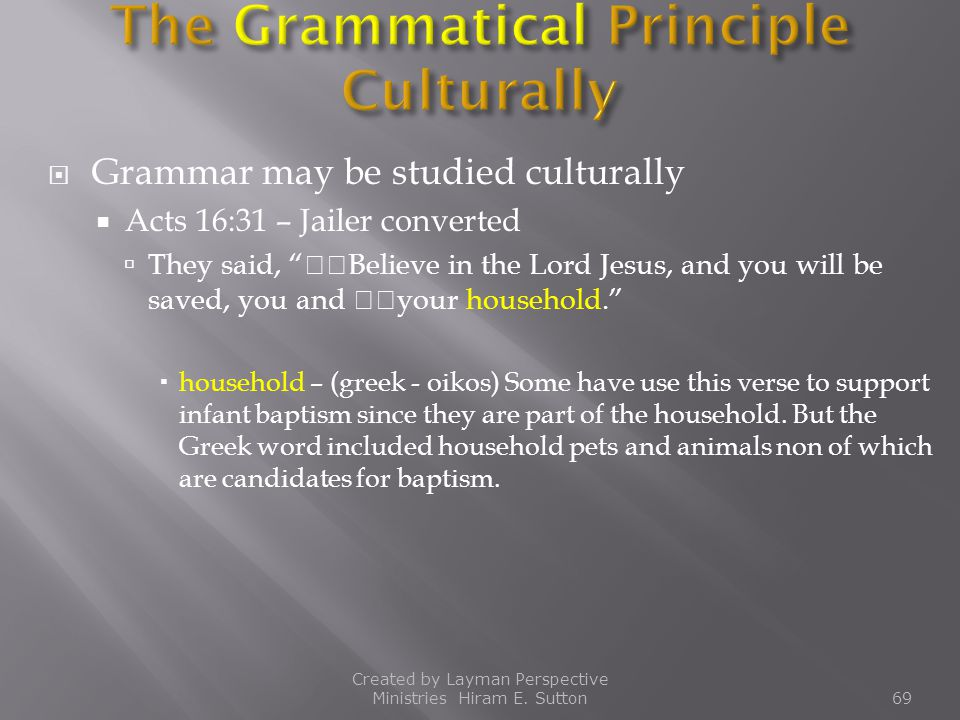 The Grammatical Principle Culturally