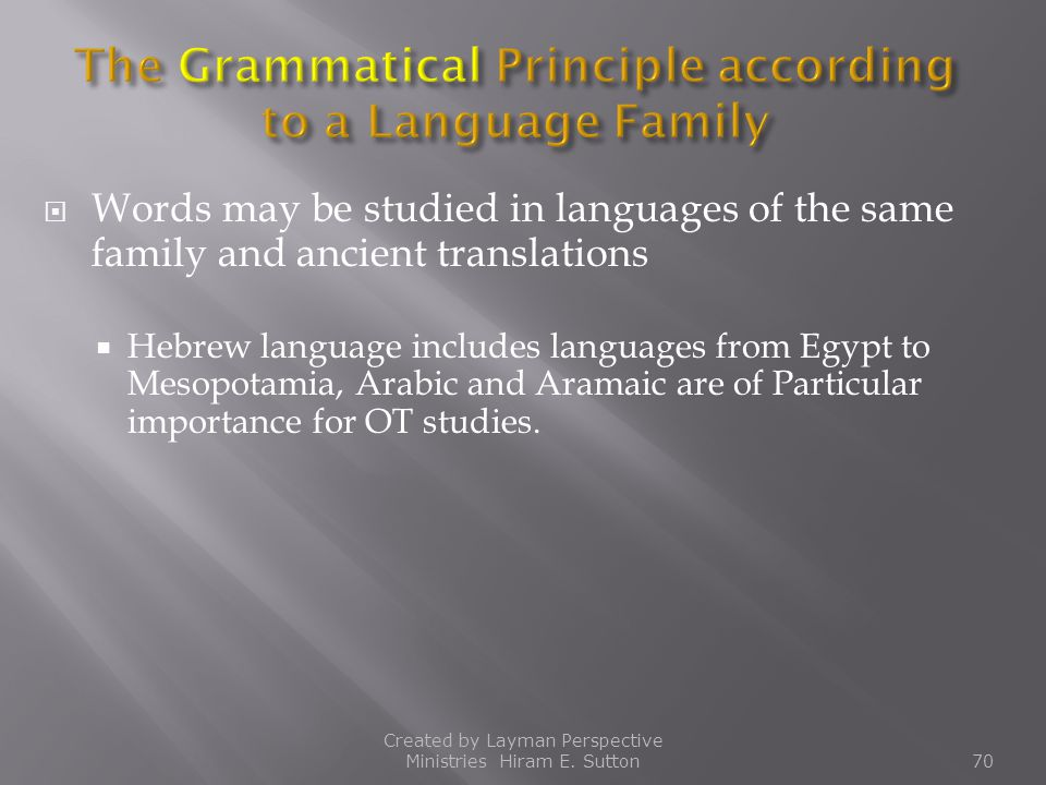 The Grammatical Principle according to a Language Family
