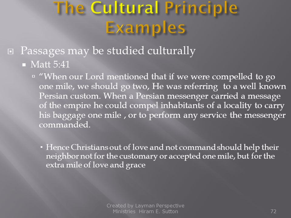 The Cultural Principle Examples