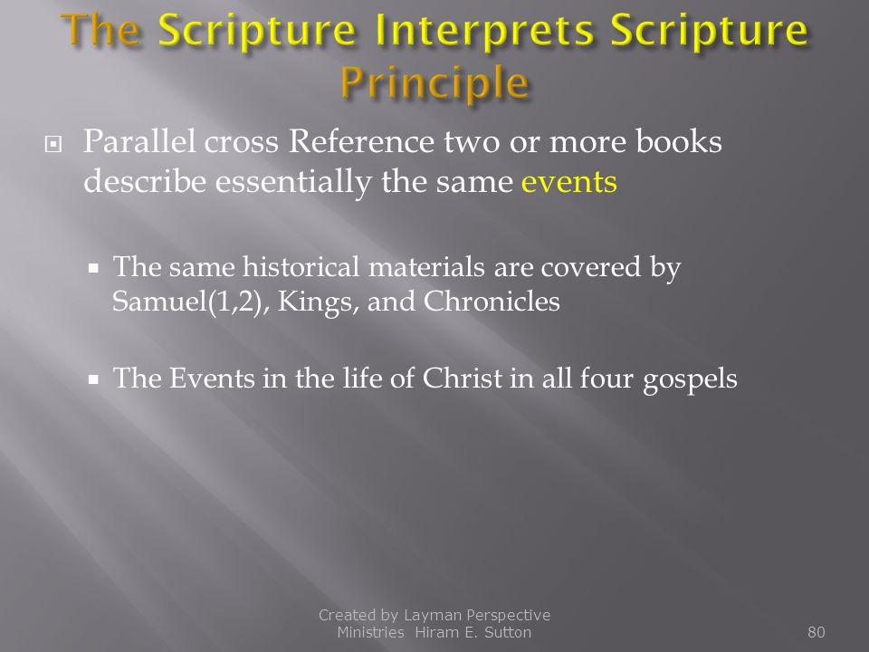 The Scripture Interprets Scripture Principle