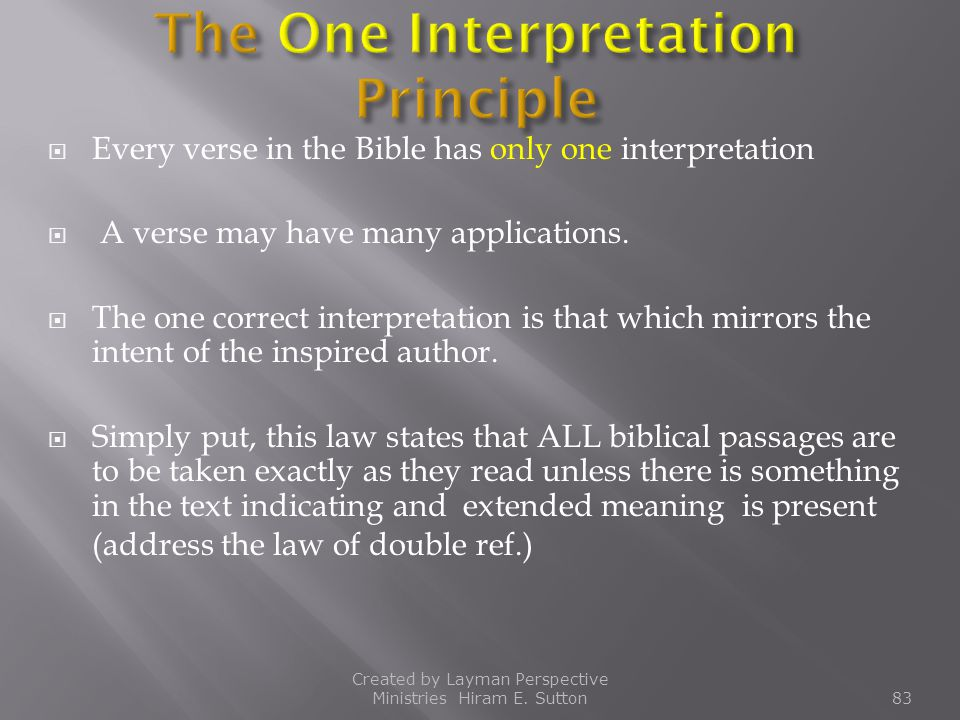 The One Interpretation Principle