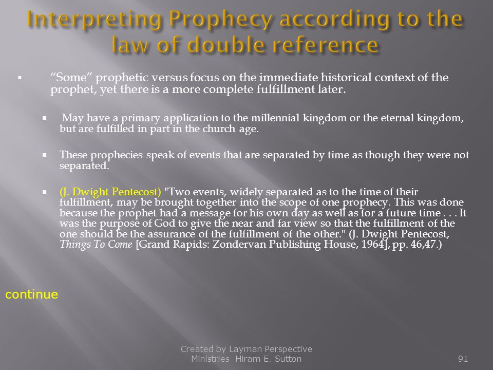 Interpreting Prophecy according to the law of double reference