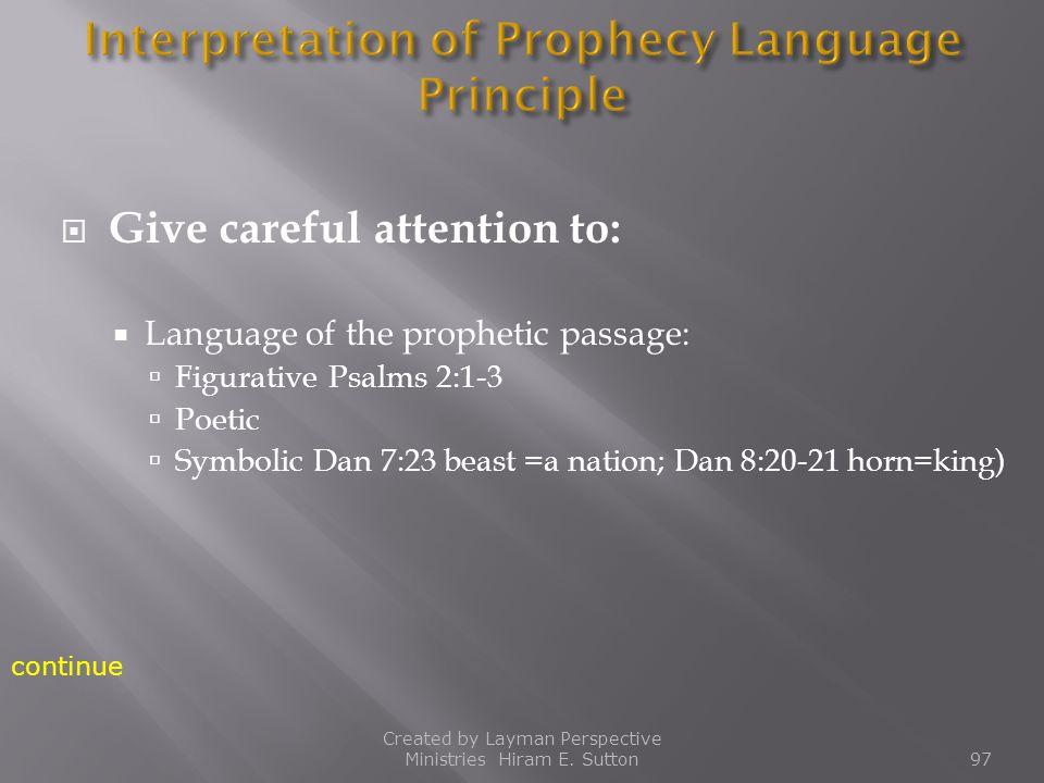 Interpretation of Prophecy Language Principle