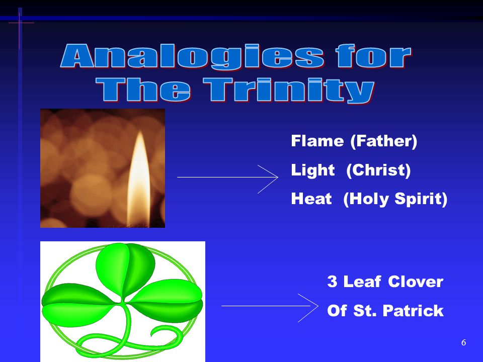 Analogies for The Trinity Flame (Father) Light (Christ)