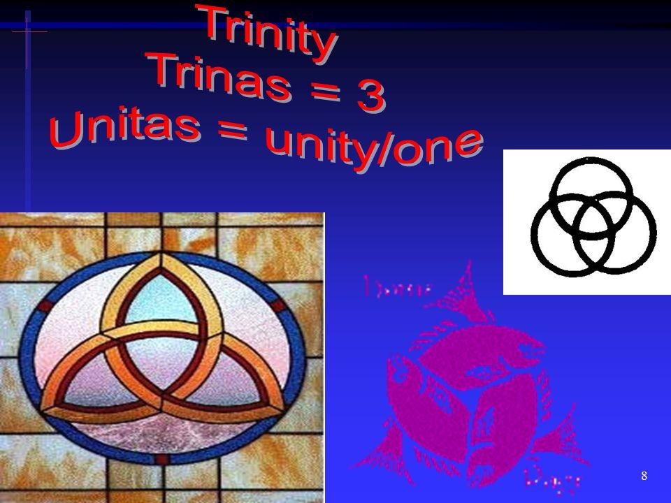 Trinity Trinas = 3 Unitas = unity/one
