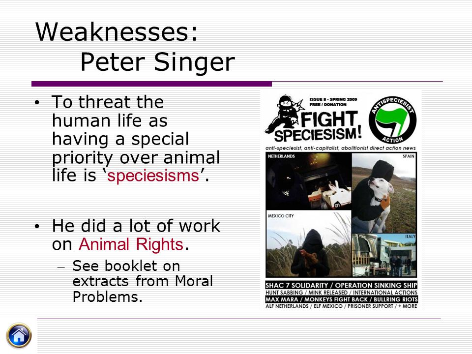 Weaknesses: Peter Singer