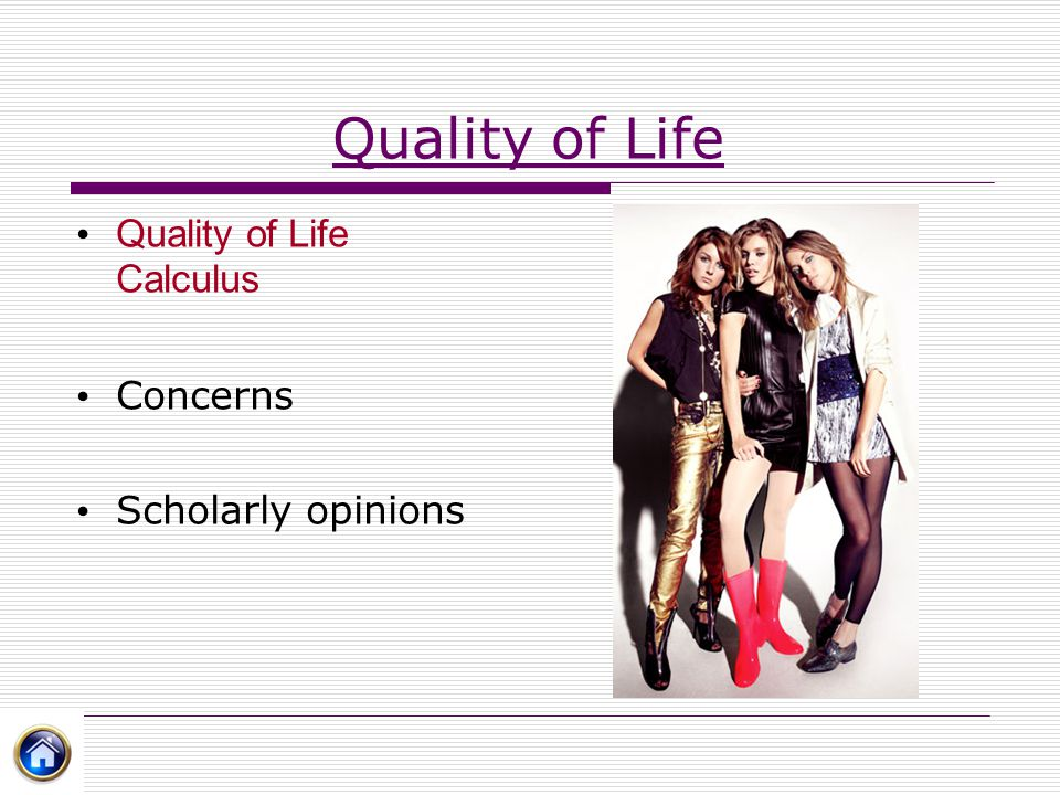 Quality of Life Quality of Life Calculus Concerns Scholarly opinions