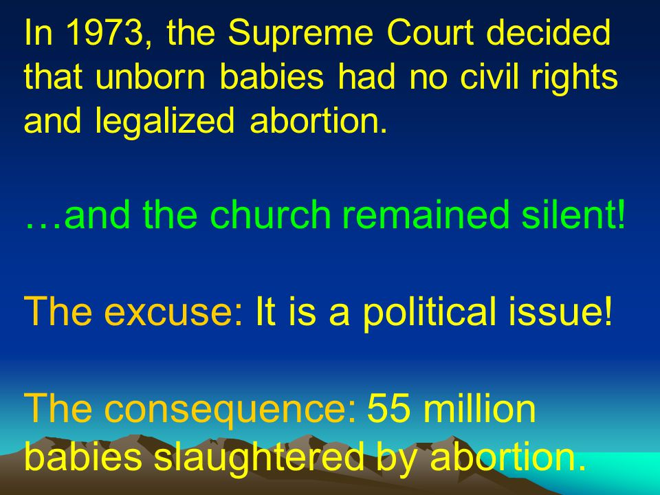 …and the church remained silent! The excuse: It is a political issue!