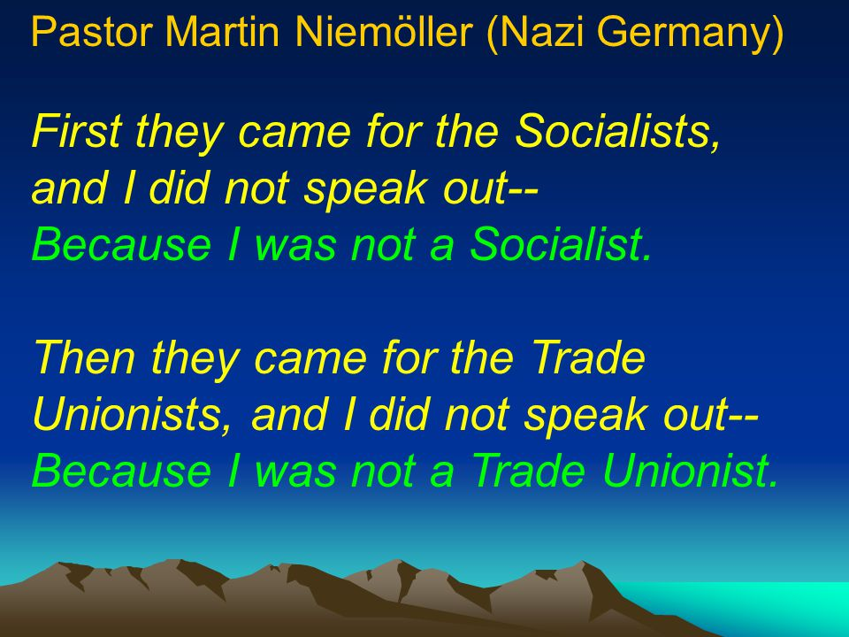 First they came for the Socialists,