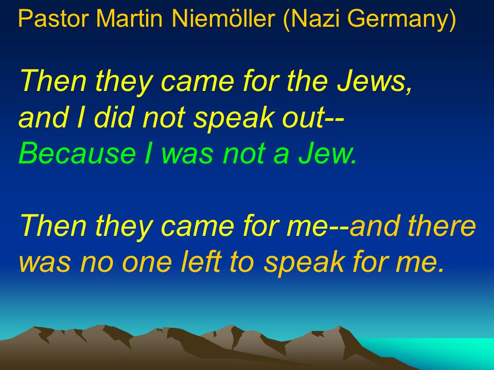 Then they came for the Jews,