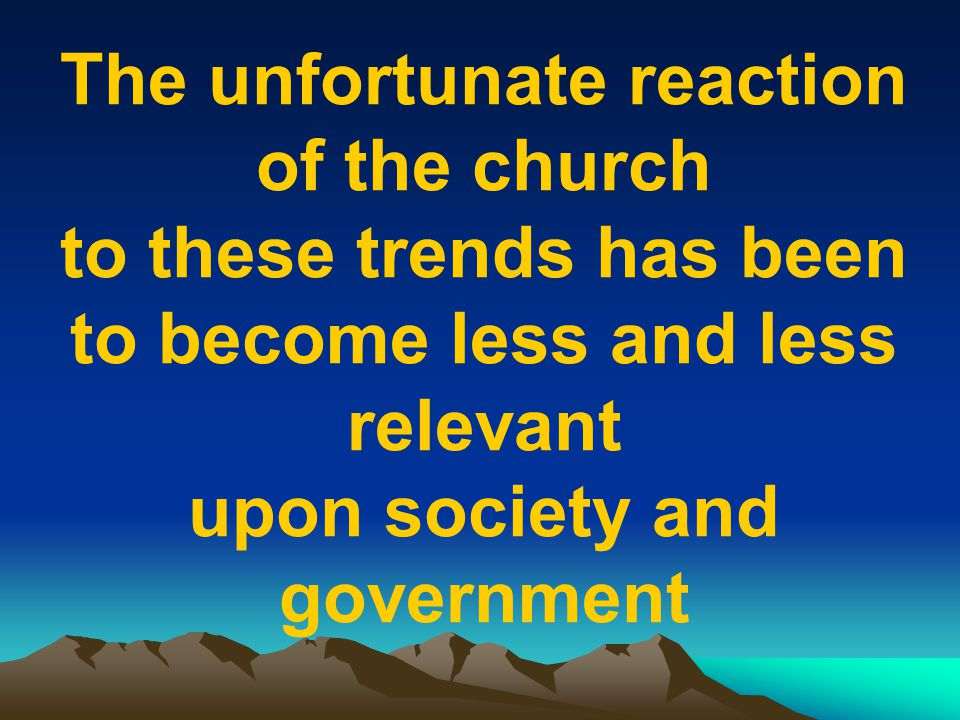 The unfortunate reaction of the church