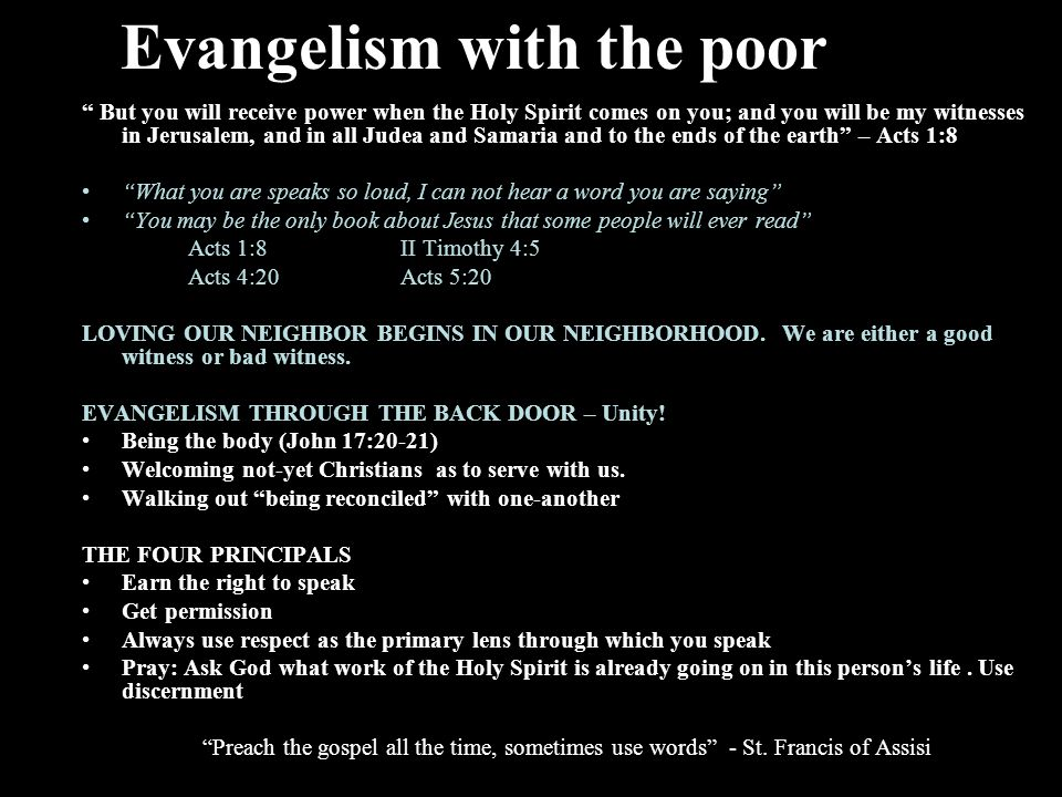 Evangelism with the poor