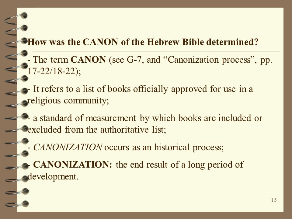 How was the CANON of the Hebrew Bible determined