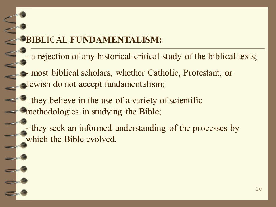 BIBLICAL FUNDAMENTALISM: