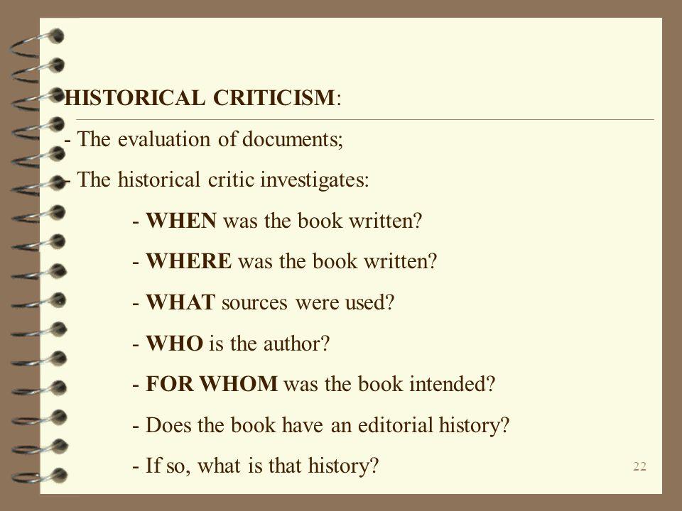 HISTORICAL CRITICISM: