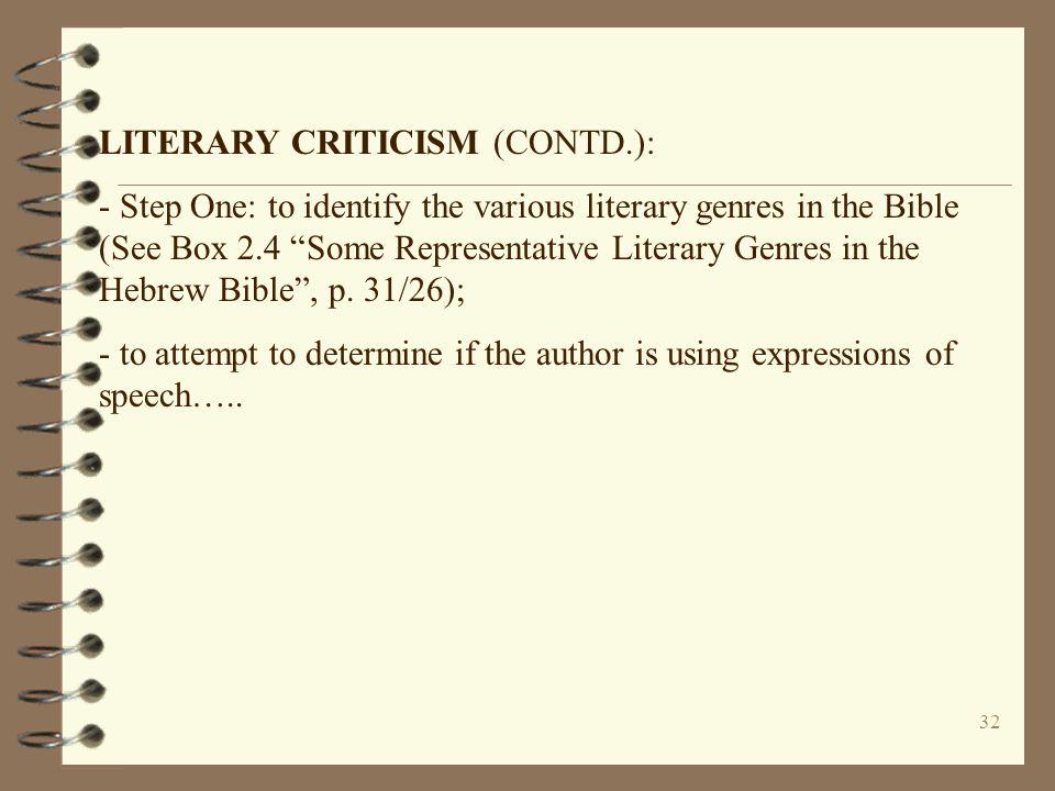 LITERARY CRITICISM (CONTD.):