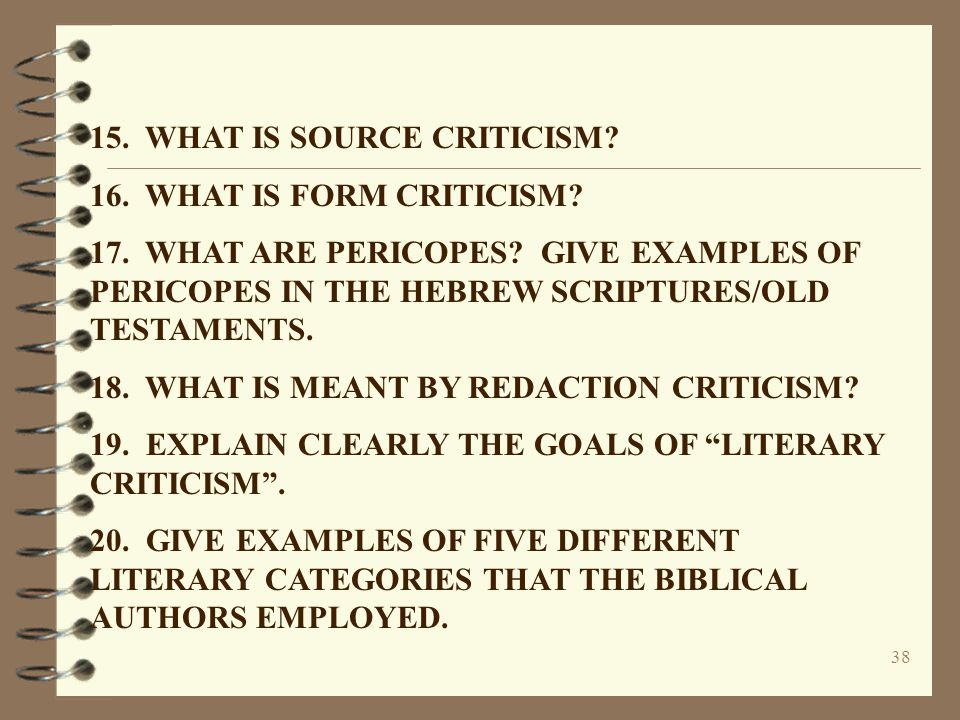 15. WHAT IS SOURCE CRITICISM