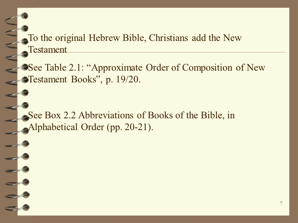 To the original Hebrew Bible, Christians add the New Testament