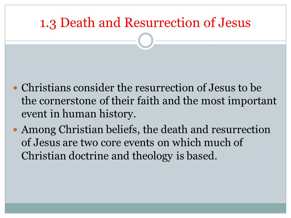 1.3 Death and Resurrection of Jesus