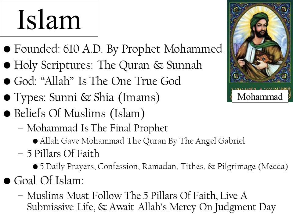 Islam Founded: 610 A.D. By Prophet Mohammed