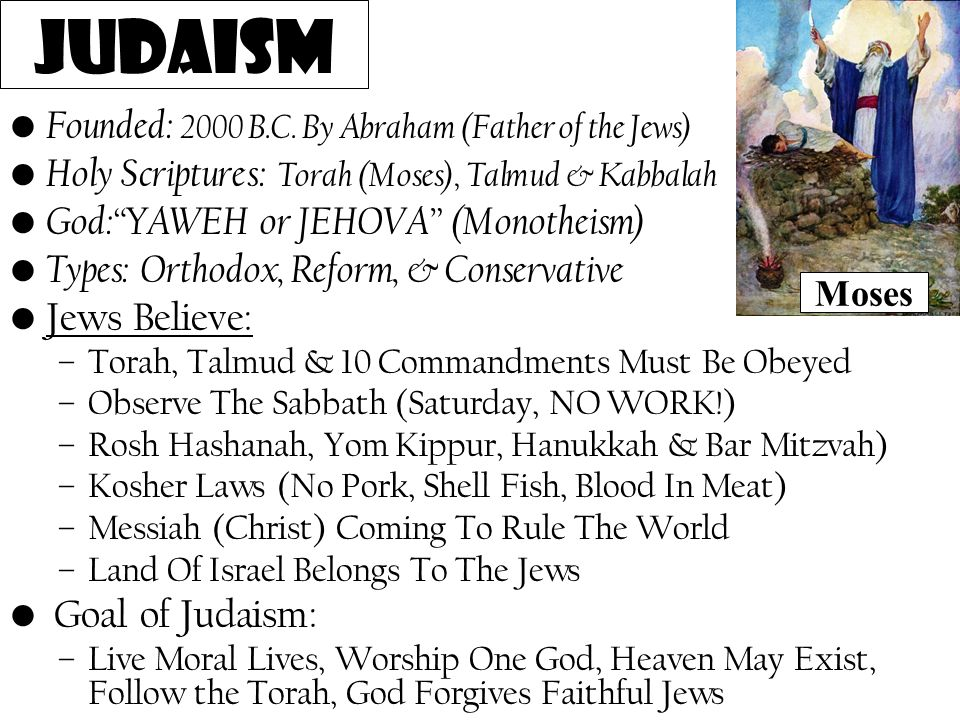 Judaism Founded: 2000 B.C. By Abraham (Father of the Jews)