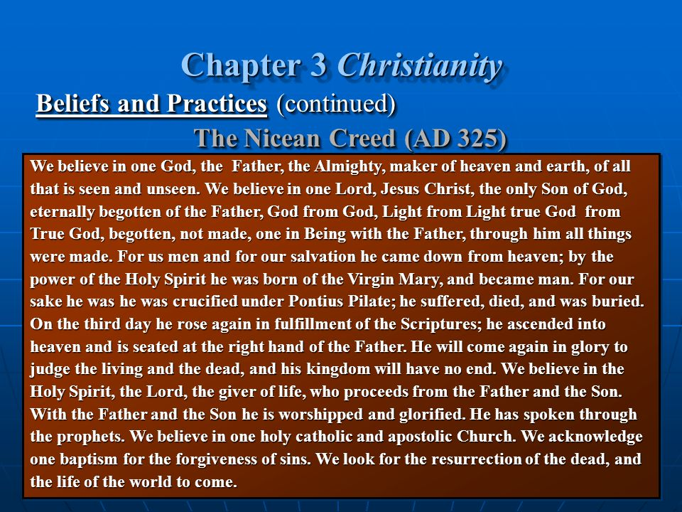 Chapter 3 Christianity Beliefs and Practices (continued)