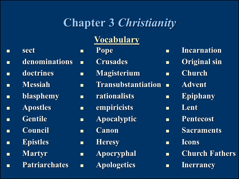 Chapter 3 Christianity Vocabulary sect denominations doctrines Messiah