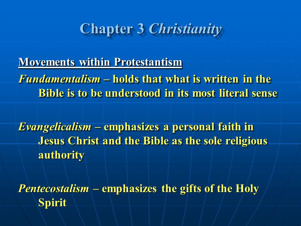 Chapter 3 Christianity Movements within Protestantism