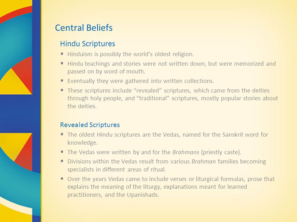 Central Beliefs Hindu Scriptures Revealed Scriptures