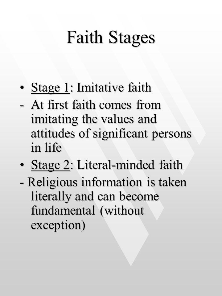 Faith Stages Stage 1: Imitative faith