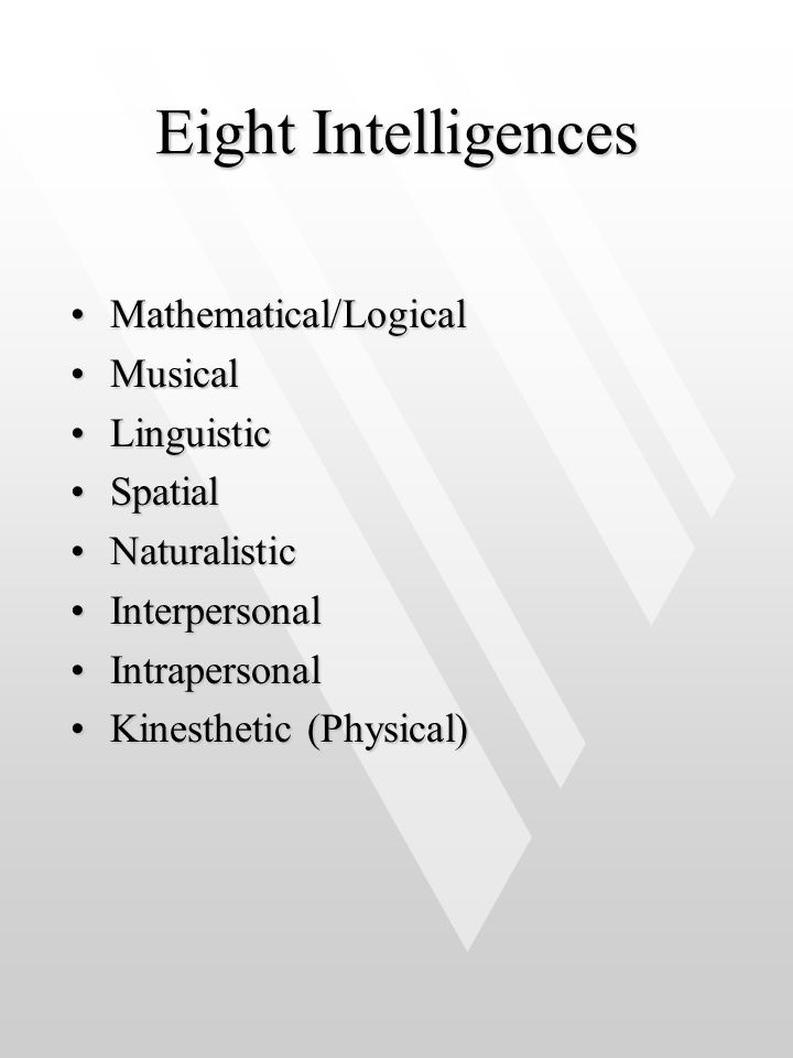 Eight Intelligences Mathematical/Logical Musical Linguistic Spatial