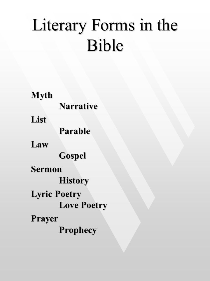 Literary Forms in the Bible