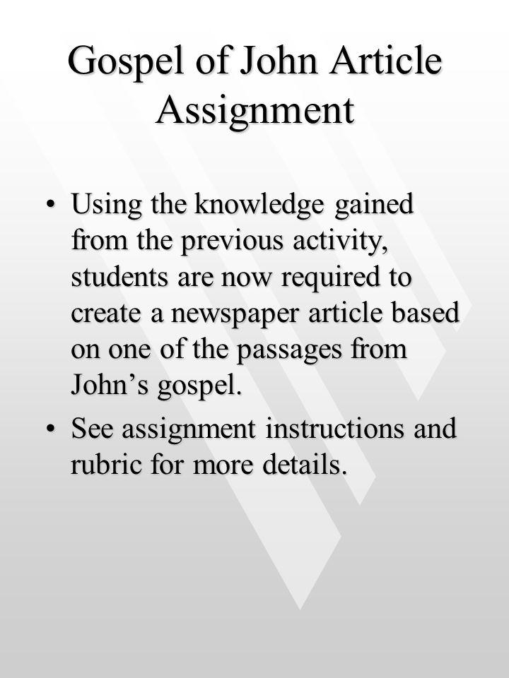 Gospel of John Article Assignment