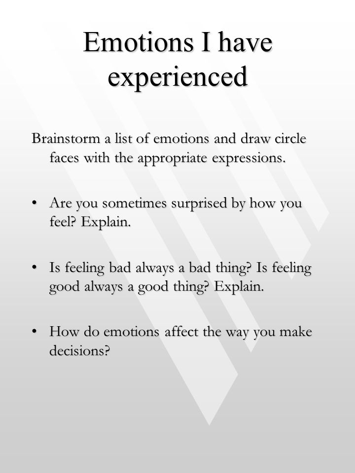 Emotions I have experienced